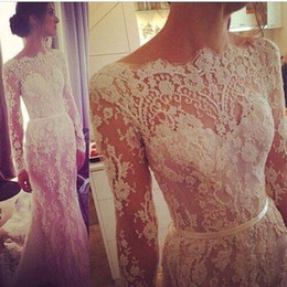 White Mermaid Lace Sheer Prom Dresses 2015 With Long Sleeves See Through Appliques Evening Gowns Party Bridesmaid Dress