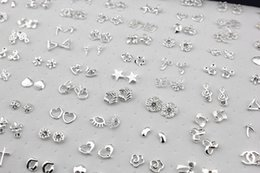 Free Shipping Wholesale Jewelry 100pairs Mixed Styles Flower Cross Animal Shiny Silver Plated Stud Earrings ME147