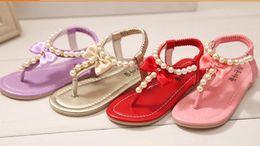 Compra Online Sandalias de perlas flores-2015 de la muchacha de las sandalias de la perla de la flor dulce dulce de las muchachas de la alta calidad Princesa Slip-On de la muchacha que rebordea los zapatos de los niños