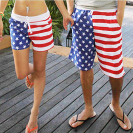 Wholesale-Women's Men'S USA Flag Stars And Stripes Unisex Beach Board Shorts Trunks Pants