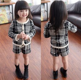 High Cute Baby Girls Houndstooth cardigan Short two pieces Suits Clothing outfit sets girls boutique clothing Children's Kids Clothes