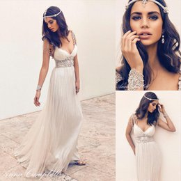 Wholesale Anna Campbell Vintage Wedding Dresses with Capped Sleeves Deep V Neck Beading Crystal Pregnant Bridal Dresses Gowns Custom Made