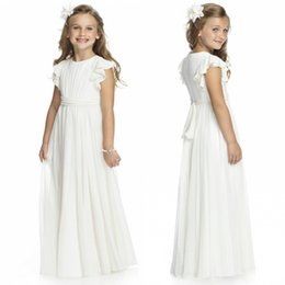 Wholesale Cheap Christening - Ivory Chiffon Long Floor Length Flower Girls Dresses For Weddings 2015 A Line Short Sleeve Custom Made Cheap First Communion Gowns