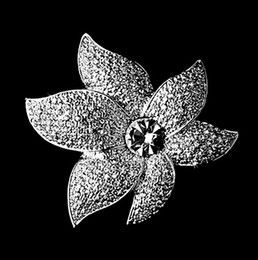 Wholesale Fashion Rhodium Silver Plated Zinc Alloy Large Size Starfish Brooch Brooches and Pins For Wedding Bouquet
