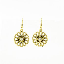Wholesale Women Rock Earring Antique Gold Silver Plated Created Diamond Crystal Sexy Flower Pendant Earrings Hollow Heart Dangle Earrings