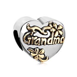 Wholesale 2 Tones Plated Heart Shape Flower Family Grandma European Charm Beads For Pandora Charm Bracelet