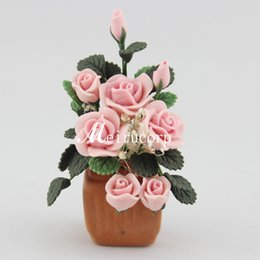 Wholesale-Wholesale fine Dollhouses 1:12 scale Mini flower pink flowers