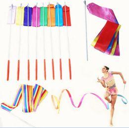 Wholesale 9 Color M Gym Dance Ribbon Rhythmic Art Gymnastic Streamer Baton Twirling Rod