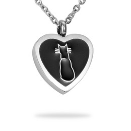 Lily Cremation Jewelry Cat Print Warm Heart Pet Memorial Urn Necklace Ashes Keepsake Pendant with gift bag