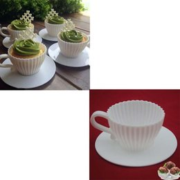 Wholesale 1 Set of Silicone Cupcake Cups Muffin Baking Cake Tea Saucers Teacup Mold Mould