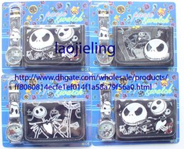 NEW Wholesale 100 pcs cartoon nightmare before christmas watches and wallet sets with gift box free shipping