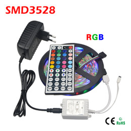 5M RGB 3528 SMD LED Flexible Strip light 60LEDs   M with 44Key IR Remote Controller and DC 12V 3A Power Adapter Home decoration