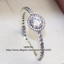 Wholesale High quality Sterling Silver Classic Elegance Ring with Clear CZ European Pandora Style Jewelry Charm