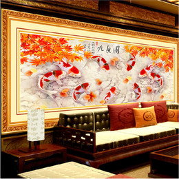 Wholesale YGS DIY D Annual surplus Nine fish Auspicious Drawing Home Decor Painting Embroidery Kit Round Diamond Painting Cross Stitch
