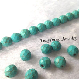 New Arrival 8mm Faceted Turquoise Beads For DIY Wholesale 5 Strands Lot(50pcs strand)