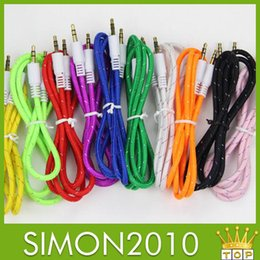 Wholesale Gold braided woven Audio Cable Cord mm Car Aux Extension ft m Auxiliary Replacement Male to Male port Wire for mp3 Speaker Car