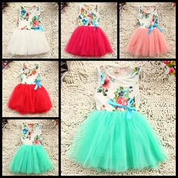 4Pc lot 2016 New Summer girls lace Korean tutu dress girls red bow dresses girl tutu dresses girls cotton flowers bowknot lace dresses 2-6T
