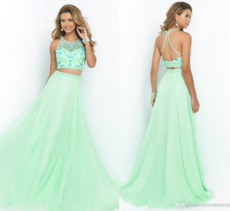 Wholesale 2015 Two Pieces Prom Dresses Fresh Green Formal Party Ball Gowns With Beads Jewel Neck Soft Long Chiffon Sweep Train