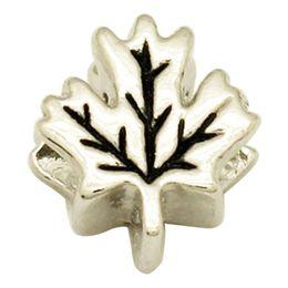 Rhodium Silver Plated Large Hole Maple Leaf Shaped European Charm Spacer Metal Bead Fit Pandora Bracelet