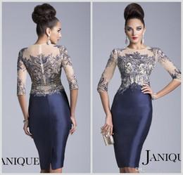 2017 Mother of the Bride Dresses Jewel Navy Blue 3 4 Long Sleeve Sheer Crystal Beaded Knee Length Evening Mother Dress