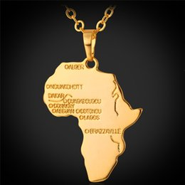 Wholesale Men Women Vivid Africa Map with Stamp K Real Gold Platinum Plated Casual African Jewelry Pendants Necklaces