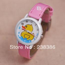 TGJW357 Cartoon Clock Lovely Yellow Duck Wristwatches Cute Children Clocks Kids Watch 6 Colors