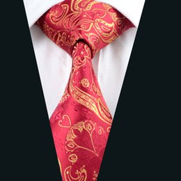 Red Yellow Mix Color Silk Tie Jacquard Woven 8.5cm Width Mens Necktie Business Casual Party Formal D-0367
