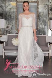Charming Lace Wedding Dresses Half Sleeve Sheer Beach Bridal Gowns 2016 Sheath Off-Shoulder Appliques Court Train Vintage Garden Chapel