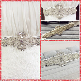 Wholesale 2015 New Beautiful Hot Selling Cheap Sexy Belly Belt Waist Crystals Pears Rhinestone Beads Bow Belt Bridal Sashes Wedding Dress Sashes Belts