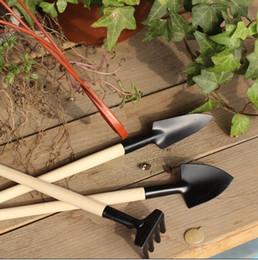 Wholesale 1Set Mini Garden Tools Small Shovel Rake Spade Wood Handle Metal Head Kids Tool