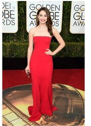 Wholesale Red Strapless Golden Globes th Celebrity Dresses Sexy Open Back Simple Chiffon Sheath Long Actress Emmy Rossum Evening Gowns