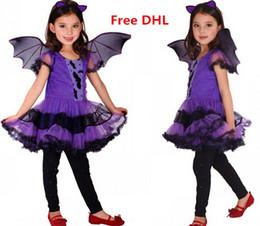 Wholesale Halloween Girls Princess Costume Tutu Dress Bat Wings Bat Hairband Set Kids Performance Cosplay Clothes Girls Costume Via DHL