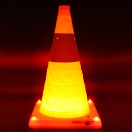 Wholesale Foldable Glow Road Cone Super Brightness LED Safety Road Warning Sign Reflective Material Traffic Cone with Adapter