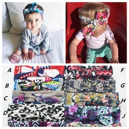 Wholesale 2016 kids girl Bohemian cotton Headband new good quality baby girl bow flower printed Turban Head Wrap bow Knot Soft hairbands