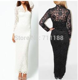 Vente en gros-lingerie sexy blanc / noir dentelle longue robe pleine dentelle HOT costume sexy uniforme à partir de lacets blancs gros fabricateur