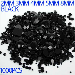 Wholesale Mix Sizes color black Round strass Acrylic Loose Non Hotfix Flatback Rhinestones Nail Art Crystal Stones For Wedding Decorations