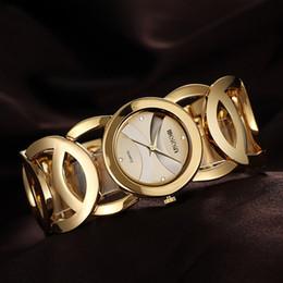 Wholesale-fashion luxury Hollow bracelet women dress watch small round dial gold face female quartz clock ladies rhinestone wrist watches