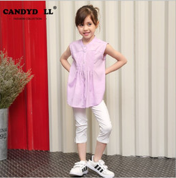 New style fashion baby girl han edition cute chiffon O-neck shirt sleeveless clothing purple pink color