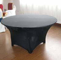 5PCS A Lot 6FT Round Black Color Spandex Tablecloth 210GSM High Quality For Wedding,Party,Hotel Use