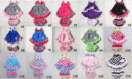 Wholesale Cute Baby Cotton Romper Dress Bloomer Sets Chevron outfit set Swing Back Top Short Set Kids Dresses Set Sizes Pieces