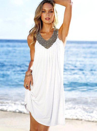 Wholesale Hot Sale Summer Short Maxi Beach Dresses Candy Colors V neck Beaded Ruched A line Casual Dresses OXL070407