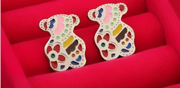 Wholesale Teddy Bear TOUS titanium steel color green drip earrings Earrings manufacturers Wedding jewelry pair B03