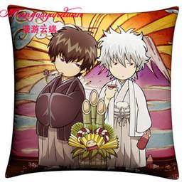 Wholesale-35*35cm Japanese anime Gin Tama Pillowcase Gintama pillow cover