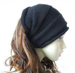Wholesale-2015 New Fashion Hat female Winter Fashion knitted hats the classical monochromatic set head cap BB0016