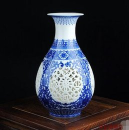 Wholesale Jingdezhen blue and white porcelain vase carved ivory jade spring Home Furnishing decorations