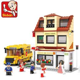 Wholesale Sluban M38 B0333 School Bus Building Blocks house bricks diy Enlighten campus toys Compatible with Legofigure