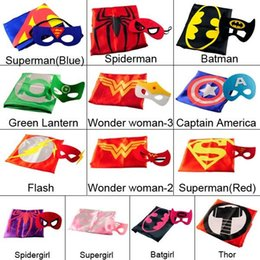 Wholesale 15color double layer kids cosplay Superhero Capes mask Children cape masks Halloween costume Multiple choices cape and mask