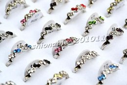 2015 Fashion Jewlery Rings Jewelry 50pcs lot CZy Rhinestone Silver tone Colorful Ring New Fashion Rings Jewellery