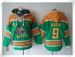 Wholesale Hoodies Jerseys Men ICE Hockey Ducks KARIYA selanne Green stitching Jerseys Sports jersey Best quality Mix Order