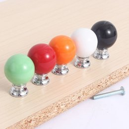 Wholesale Ceramic Pulls For Cabinets - 5pcs 27mm Round Pastel Coloured Ceramic Cabinet Cupboard Drawer Knob Pull Handle 5 Colors For Choose